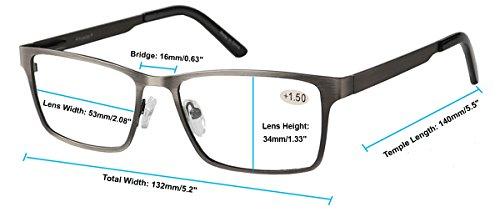 Eyecedar 5-Pack Reading Glasses Men Rectangle Frame Metal Grey Stainless Steel Material Spring Hinges Readers 2.50 by eyecedar (Image #4)