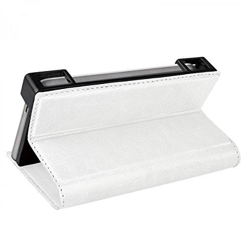 eFabrik Schutzhülle für UMI Rome 4G 5.5 Zoll Tasche Cover Schutz Hülle Case Handyhülle Schutztasche Etui Wallet Leder-Optik weiß