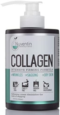 16 Fl Oz Salon Size Collagen Firming Cream. Nuventin Collagen Cream for Wrinkles, Sagging Skin, and Dry Skin. Features Aloe Vera and Green Tea.