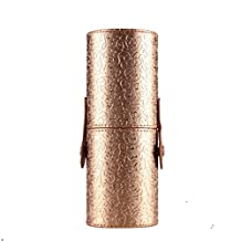 Changeshopping PU Leather Cosmetic Case Portable Storage Makeup Bags Organizer Brush Holder Cup (Gold)