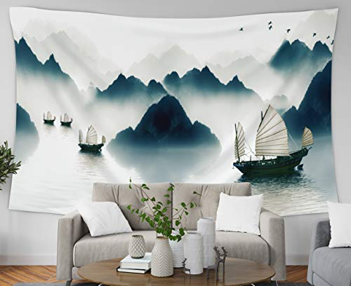 Asdecmoly Wall Hanging Tapestries, Home Decor Tapestry The Mountains in The Morning Fog All See River Across Sailboat to Dorm Room Bedroom Living Room 80x60 Inches(200x150cm) (Tapestry China Blue)