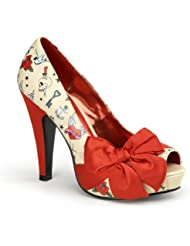 Womens Platform Pumps Sexy Punk Shoes Peep Toe Large Red Bow 4 1/2 Inch Heel