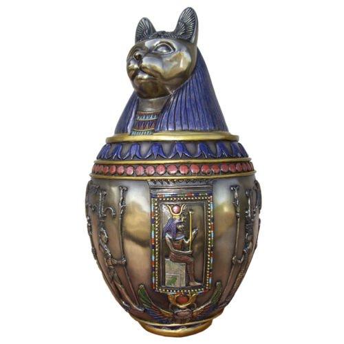 "9.5"" Egyptian Canopic Jar - Bastet Burial Urn Home Decor Statue Egypt"
