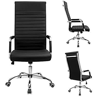 Furmax Ribbed Office Chair High Back PU Leather Executive Conference Chair Adjustable Swivel Chair with Arms from Furmax