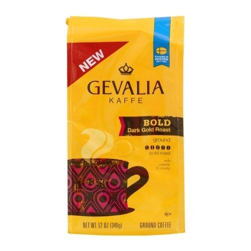 Gevalia Kaffe, Ground Coffee, Bold Dark Gold Roast, 12oz Bag (Pack of 2)