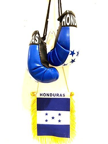 Car Honduras Flag (2pc Honduras small car flag edition mini Honduras flag & Boxing glove design)