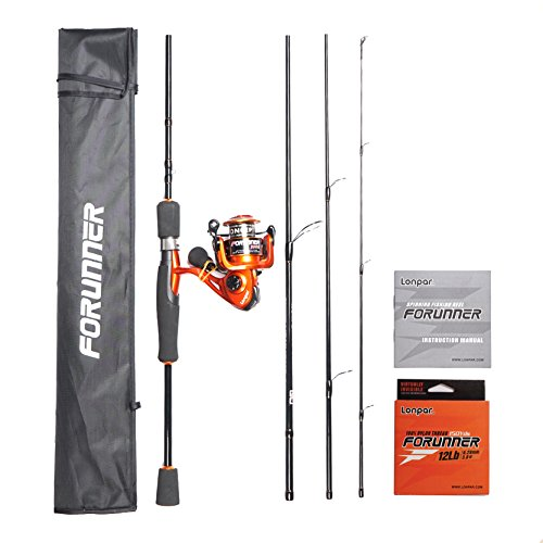 LONPAR Forunner Graphite 4 Pieces Spinning Rod and Reel Combos, Travel Portable Spinning Rod with Spinning Reel, Saltwater Freshwater Fishing (6'6'' FT 4 Pcs Mid Rod+2000 Reel+12LB Nylon Line)