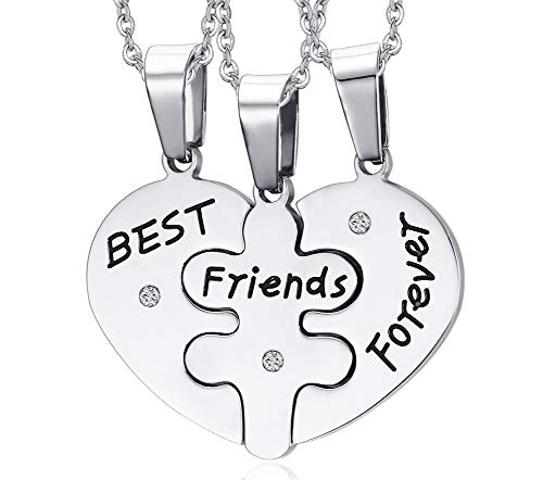 VNOX 3 Piece Heart Puzzle Piece Necklace Set Personalized Customized BBF Friendship Necklace for 3 (Set for 3-Sliver, Best Friend Forever)