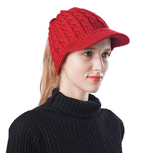 Scrub Green Winter Trendy High Bun Visor Ponytail Beanie Skull Hat Warm Stretch Cable Knit Cap (Visor Burgundy-1)