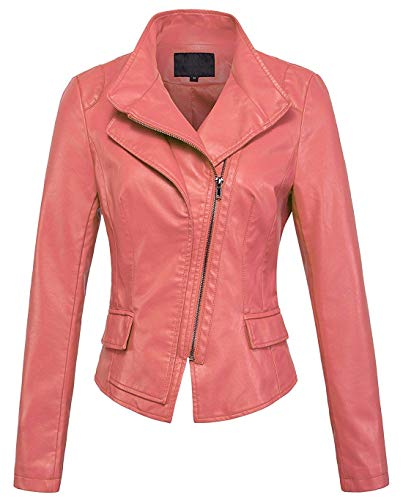 chouyatou Women's Stylish Oblique Zip Slim Faux Leather Biker Outerwear Jacket (XX-Large, Pink) ()