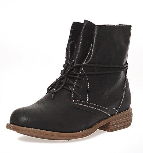 Damen Boots Stiefeletten Schuhe Schnürer 166 (37, Schwarz)