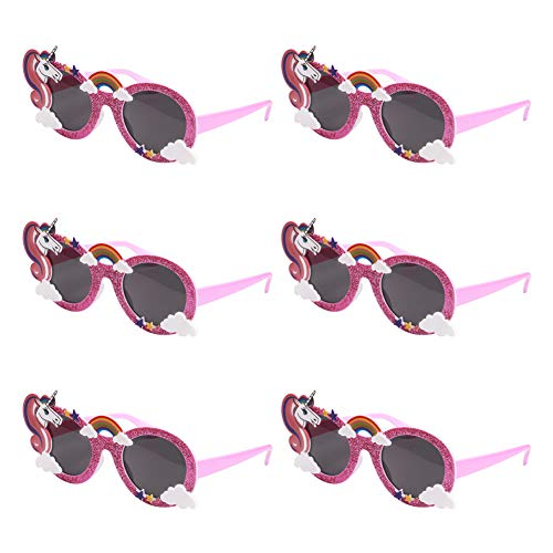 Ocean Line Glittered Pink Unicorn Sunglasses - Funny Party Costume Glasses, Novelty Shades, Photo Booth Props, Fancy Dress Party Supplies Accessories for Kids & Adults]()