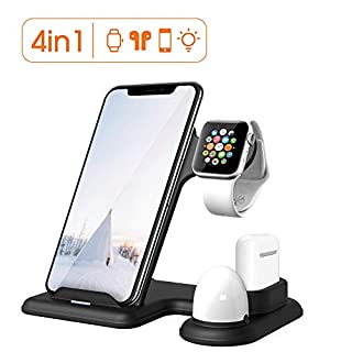 Xoopar Wireless Charging Station for Apple Watch 5 and Airpods, 15W Qi Fast Wireless Charger with Night Light, 4 in 1 Charging Stand Holder Compatible with iPhone 11 Pro/XS Max/XR/X/8 Plus/iWatch