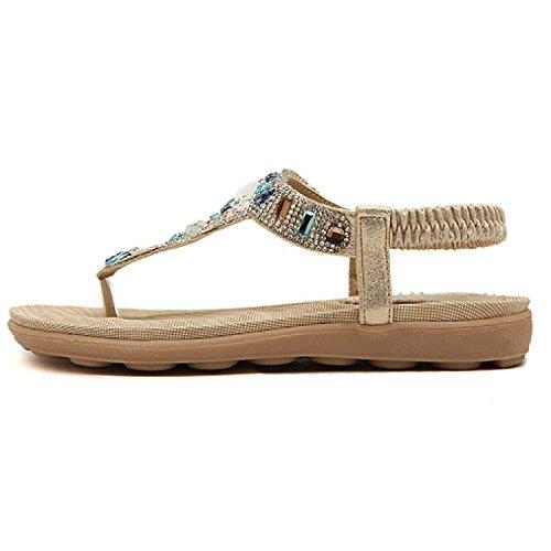 Btrada Sandalen Voor Vrouwen-zomer Bohemien Schoenen-clip Teen Strand Casual Flats-outdoor Anti-slip Flip Flops Golden