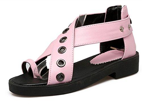 YCMDM Sandalen Frühling Sommer Fall Club Schuhe PU Büro & Karriere Kleid Casual Low Heel Chain Blue Pink Weiß , pink , us6.5-7 / eu37 / uk4.5-5 / cn37
