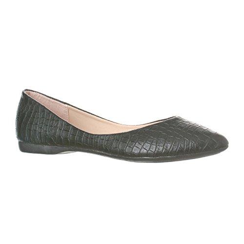 Riverberry Women's Ella Basic Closed Pointed Toe Ballet Flat Slip On Shoe, Black Croc, 8.5