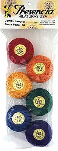 Presencia Pearl Cotton Thread Sampler - Sashiko, Embroidery & Quilting - Jewel Sampler - Size 8-6 Colors - 77 Yard Balls