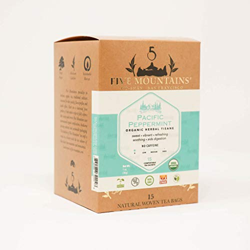 Five Mountains Organic Pacific Peppermint, 15 non-GMO Caffeine-Free Herbal Tea Bags