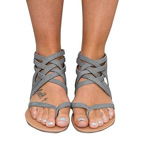 Chenghe Women's Flat Strappy Zip Sandals Criss Cross Gladiator Sandals B Grey 8.5 M US