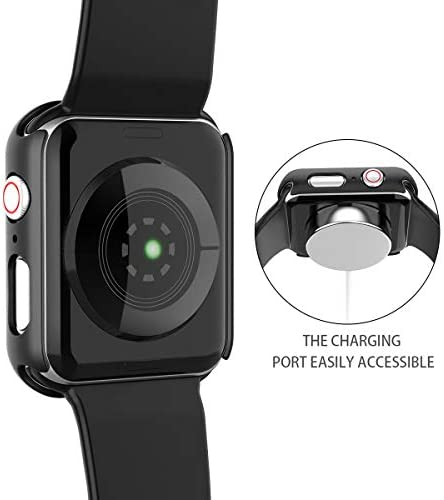 Misxi Black Hard Case Compatible with Apple Watch Series 5 Series 4 44mm with Screen Protector, Hard PC Case Slim Tempered Glass Screen Protector Overall Protective Cover for iwatch Series 5/4 5