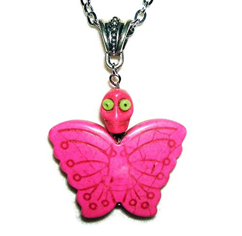 PINK MARIPOSA BUTTERFLY Necklace Pendant SUGAR SKULL DAY OF THE DEAD Silver Pltd ()