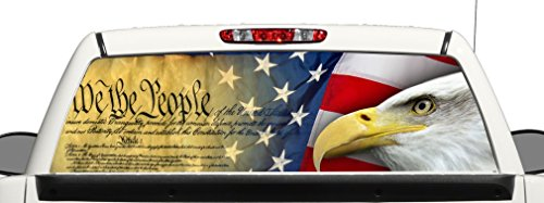 avgrafx Truck SUV Gun Rights Flag Rear Window Graphic Decal Perforated Vinyl Wrap