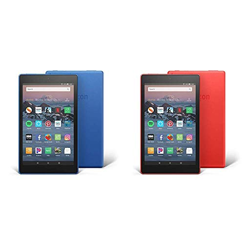 Fire HD 8 2-Pack, 16GB - Includes Special Offers (Marine Blue/Punch Red)
