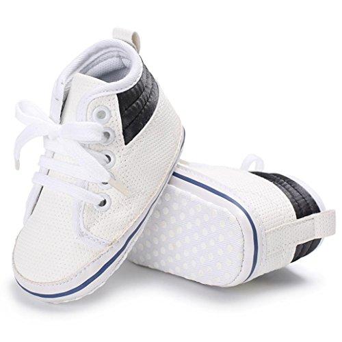Igemy 1 Paar Baby Mädchen Jungen Frenulum Hight Cut Schuhe Sneaker Anti-Rutsch Soft Sole Kleinkind Weiß