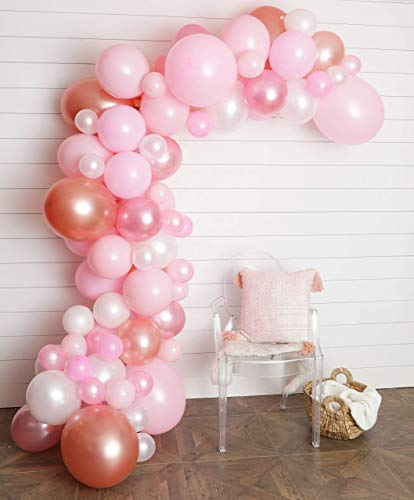 JUNIBEL Balloon Arch & Garland Kit | 90 Pink, Blush, Rose Gold & White Sm to Xlrge balloons | Glue Dots | 17' Decorating Strip | Wedding, Baby Shower, Graduation, Anniversary Organic Party Decorations