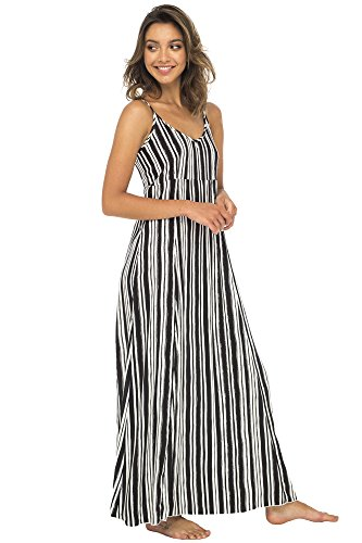 Bali From Back Summer Dress Beach Sexy Long Dress Black Sleeveless Casual Womens Maxi Striped qFddR5Hx