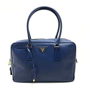 Prada Saffiano Lux Leather Top Handle Bauletto Bluette Blue Handbag BL0095