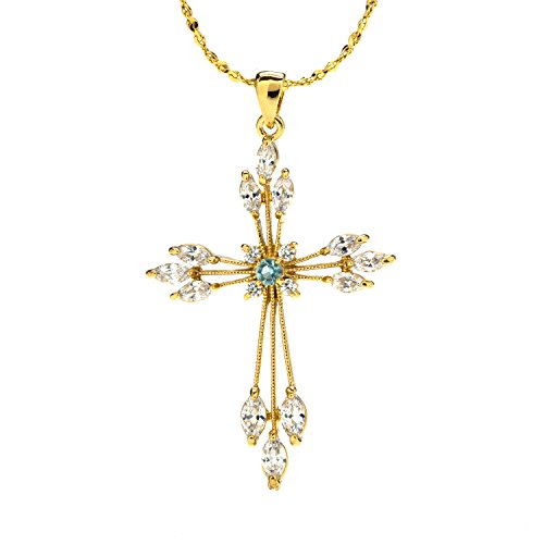 Lifetime Jewelry Cross Necklace for Women - Cubic Zirconia Snowflake Cross - 20X More Real 24k Gold Plating Than Other Pendant Necklaces - 18 inch Chain - Free Lifetime Replacement Guarantee