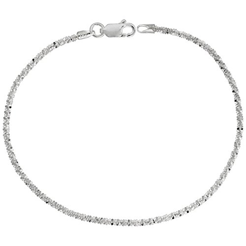 Sterling Silver Sparkle Chain Bracelet 1.8mm Diamond cut Rock Chain Nickel Free Italy, 8 inch (Sterling Silver Sparkle)
