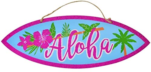 Scout & Company Aloha Surfboard Surf Board Sign for Tropical Hawaiian Luau Party Supplies | Tiki Bar Decorations with Pink Glitter Hibiscus | Plaque for Kitchen or Outdoor Patio Decor