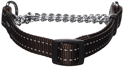 ROGZ Utility Medium 5/8-Inch Reflective Snake Obedience Half-Check Dog Collar, Chocolate