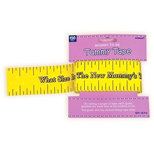 Amscan Delightful Tummy Measure Game Baby Shower Party Novelty Favors, 2in x 150ft, Yellow (2-Pack) ()
