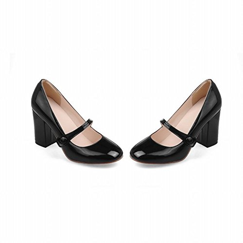 Mee Shoes Damen süß vierkant Glattleder chunky heels Mary Jane Pumps Schwarz