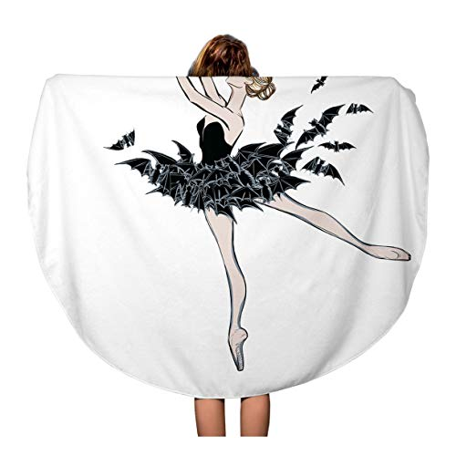 Semtomn 60 Inches Round Beach Towel Blanket The Portrait of Ballerina in Fantasy Dress Bats Ballet Travel Circle Circular Towels Mat Tapestry Beach Throw