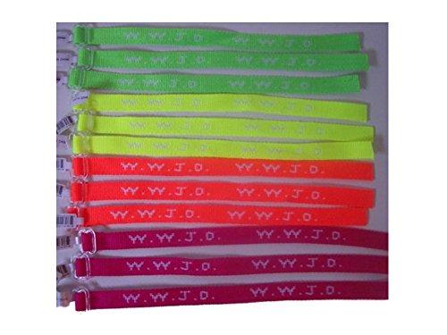 1 Dozen Flourescent W.W.J.D. Wrist Bands Assorted - Wristbands What Do Do