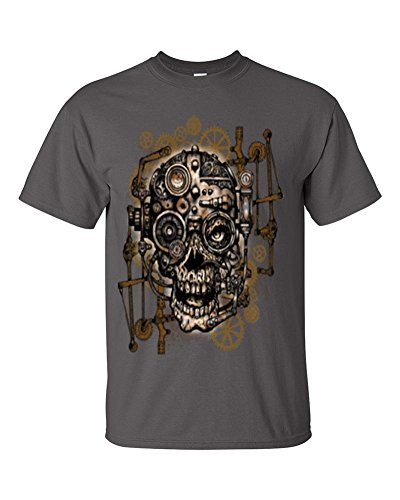 Lifestyle39 Geared up Skull Shirt, Skull with gears and sprockets shirt, steampunk Shirt Charcoal Large (Sprocket Skull)