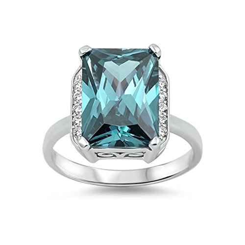 Halo Cocktail Wedding Engagement Ring Radiant Cut Simulated Aquamarine Round CZ 925 Sterling (Cocktail Radiant Ring)