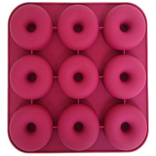 Axe Sickle Large Donut Pan, 9 Cavity Donut Silicone Baking Pan Mold, Non-stick Donut Mold, BPA-Free, Durable Baking Kitchen Accessories Easy to Clean, Easy to Use.