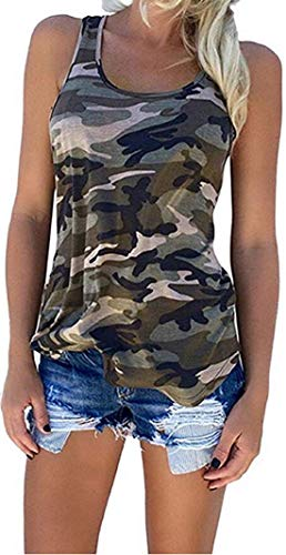 Flower999 Women's Racerback Casual Stretch Camo Shirts Camouflage Tank Tops (X-Large, Green)