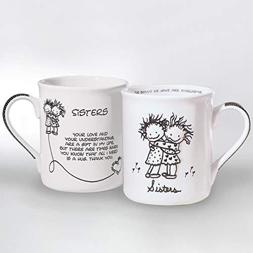 Enesco Children of the Inner Light Sisters Hugging Stoneware Gift Mug, 16 oz. (32330)