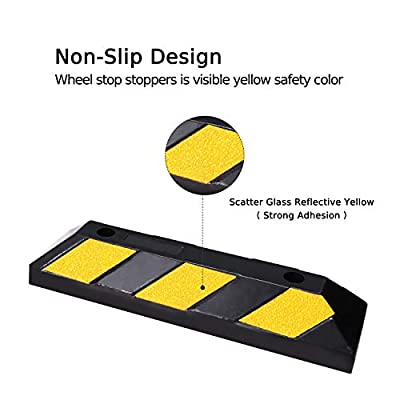 FCOME 1 Pack Heavy Duty Rubber Parking Block Parking Curb Wheel Stop Stoppers with Scatter Glass Reflective Yellow Targets for Car Garage Floor Stops and Truck RV Stop Aid Indoor Outdoor: Automotive
