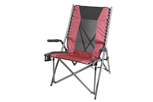 Ozark Trail Bungee High Back Chair with Cup Holder, Red