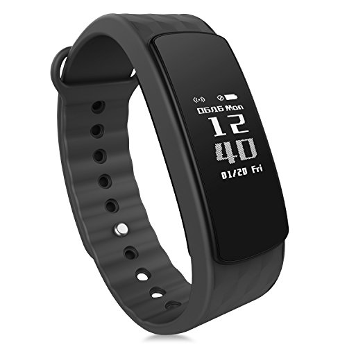 Heart Rate Monitor, Smart Fitness Band Activity Tracker Bracelet Wristband HR Pedometer Wireless Waterproof Calorie Counter Weather Temperature Smart Watch for IOS & Android Smartphone IP67