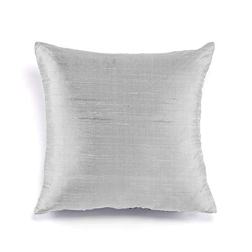 FABRICART Silk Allure Collection : Dupioni raw Silk Cushion Covers | Pillow Shams | Lumbar Covers | Euro Shams | Elegant & Royal Sheen Texture | Well Made | Set - Silk Cover Dupioni Pillow