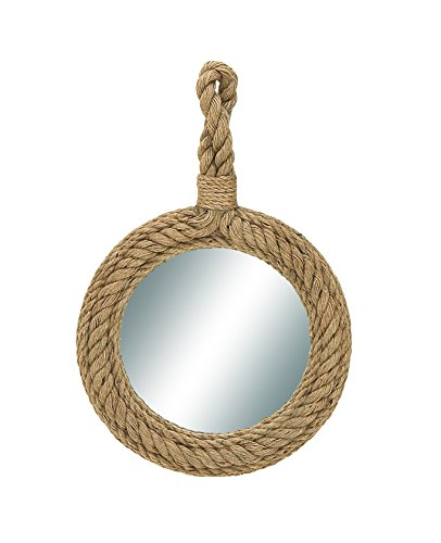 "Deco 79 68570 Wood Rope Wall Mirror, 24"" x 35"" - Highly durable and used for both indoor and outdoor decoration Suitable to be use as decorative items Manufactured in China - bathroom-mirrors, bathroom-accessories, bathroom - 41kv4zQ54VL -"
