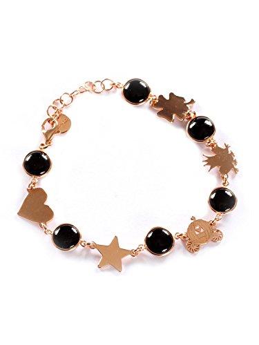 Bracelet pierte noires avec cœur, étoile, carrosse, prince grenouille et trèfle rue des mille